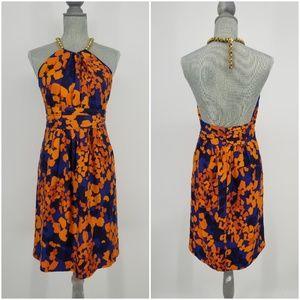Milly 100% Silk Chain Halter Dress Sz 8